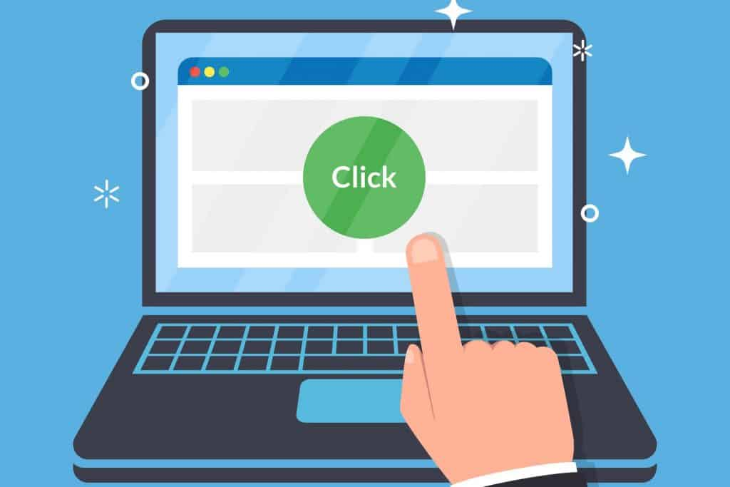 finger pointing to click a button on the computer screen